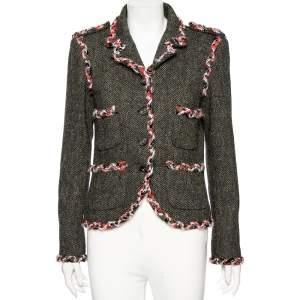 Chanel Grey Herring Wool Contrast Braided Trim Detailed Jacket M