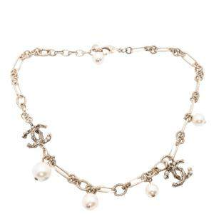 Chanel Gold Pearl CC Chain Bracelet