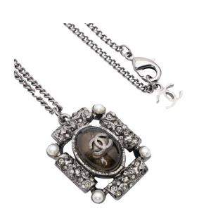 Chanel Black Metal Stone CC Pendant Necklace