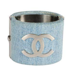 Chanel Blue Denim CC Cuff Bracelet