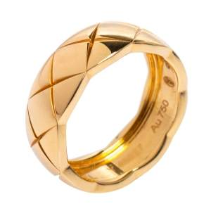 Chanel Coco Crush Quilted Motif 18K Yellow Gold Band Ring Size 50