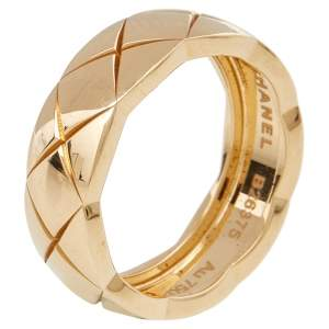 Chanel Coco Crush Quilted motif 18K Yellow Gold Small Version Band Ring 54