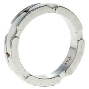 Chanel Ultra White Ceramic 18K White Gold Narrow Band Ring Size 52