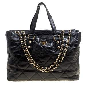 Chanel Black Quilted Glazed Leather Portobello Tote