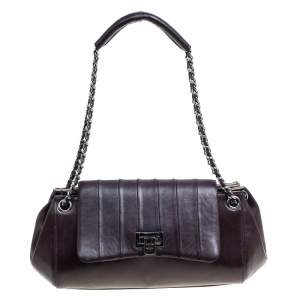 Chanel Dark Brown Vertical Quilted Leather Accordion Flap Bag