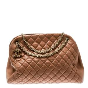 Chanel Brown Quilted Leather Large Just Mademoiselle Bowler Bag