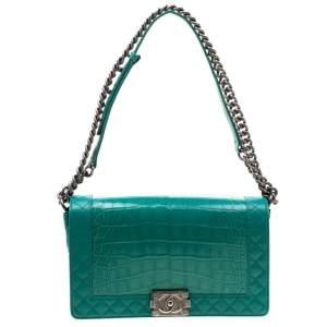 Chanel Green Alligator and Leather New Medium Reverso Boy Flap Bag
