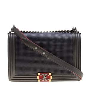 Chanel Dark Grey Cube Embossed Leather Large Boy Flap Bag
