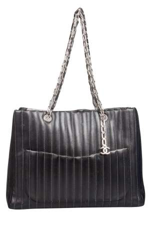 Chanel Black Vertical Quilted Leather Large Mademoiselle Tote