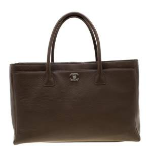 Chanel Brown Leather Cerf Executive Tote