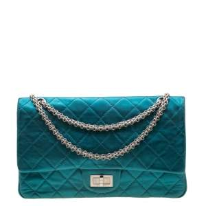 Chanel Metallic Turquoise Quilted Leather Jumbo Reissue 2.55 Classic 227 Flap Bag