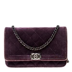 Chanel Purple Quilted Velvet Boy WOC Clutch Bag