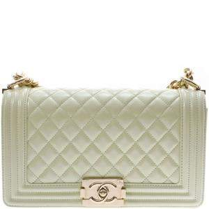 Chanel Mint Green Quilted Patent Leather Medium Boy Flap Bag