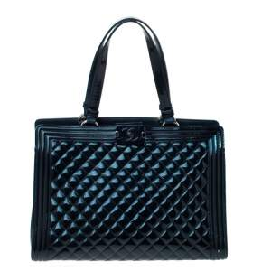 Chanel Navy Blue Quilted Leather Large Boy Shopper Tote