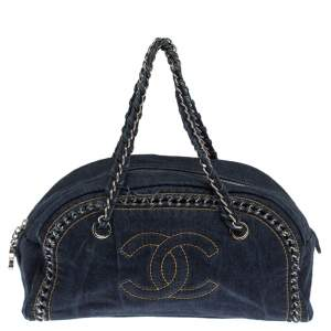 Chanel Navy Blue Denim Medium Chain Trim Luxe Ligne Bowler Bag