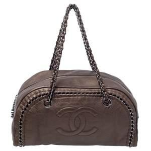 Chanel Golden Brown Leather Medium Luxe Ligne Bowler Bag