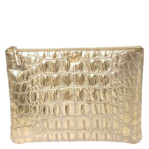 Chanel Gold Crocodile Embossed Leather Cosmetic Pouch