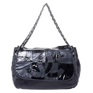Chanel Black Leather CC Accordion Flap Bag
