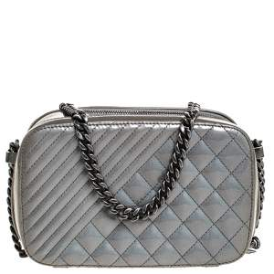 Chanel Grey Vinyl and Leather Small Coco Boy Camera Case Bag