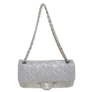 Chanel Metallic Grey Quilted Jersey Medium Flap Bag
