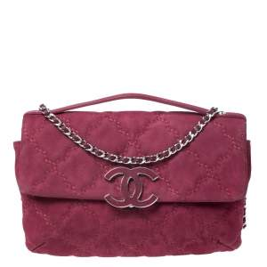 Chanel Burgundy Stitch Quilted Leather CC Clasp Flap Bag