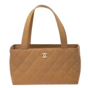 Chanel Beige Caviar Leather CC Tote