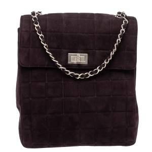 Chanel Dark Plum Chocolate Bar Quilted Suede Vintage Multipocket Flap Bag