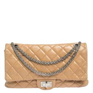 Chanel Beige Quilted Iridescent Leather Reissue 2.55 Classic 227 Flap Bag