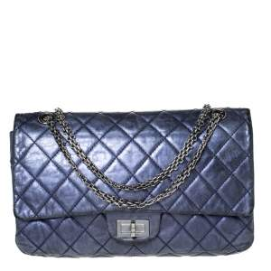 Chanel Metallic Blue Quilted Leather Jumbo Reissue 2.55 Classic 227 Flap Bag