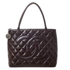 Chanel Brown Quilted Caviar Leather Medallion Tote