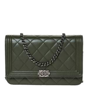 Chanel Moose Green Quilted Leather Boy Wallet on Chain