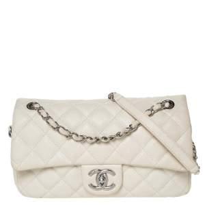 Chanel White Caviar Leather Easy Medium Flap Shoulder Bag
