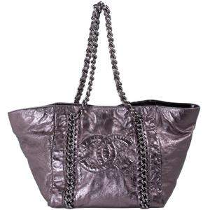 Chanel Metallic Bronze Leather Large Modern Chain Tote