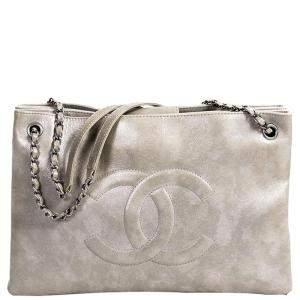 Chanel Metallic Grey Leather Iridescent Timeless Accordion Tote
