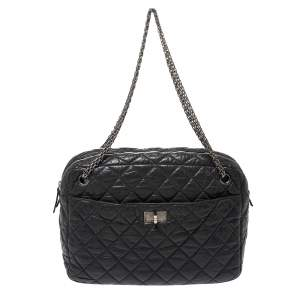 Chanel Grey Quilted Leather Large Reissue Camera Bag
