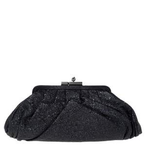 Chanel Black Crinkled Leather Monte Carlo Clutch