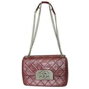 Chanel Burgundy Calfskin Leather Chain Shoulder Bag