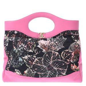 Chanel Pink/Black Printed Canvas Leather 31 Shopping Bag