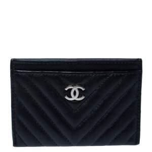 Chanel Black Chevron Leather Card Holder