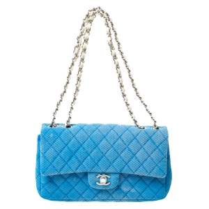 Chanel Blue/White Quilted Perforated Jersey Medium Classic Single Flap Bag