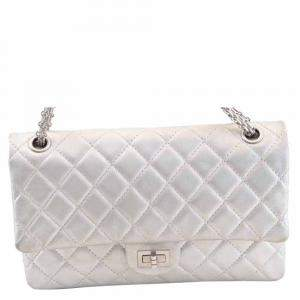Chanel Silver Lambskin Leather Chain Shoulder Bag