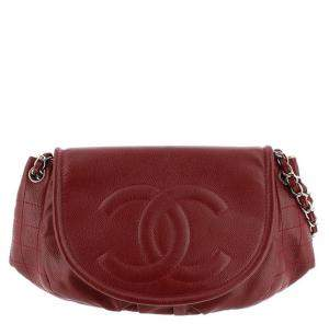 Chanel Red Caviar Leather Shoulder Bag