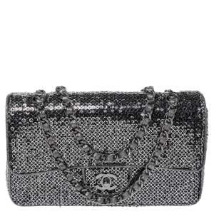 Chanel Silver/Black Sequins Medium Classic Single Flap Bag