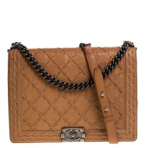 Chanel Cream Quilted Stiched Leather Large Boy Flap Bag