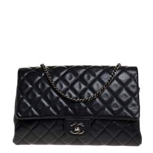 Chanel Anthrx Grey Caviar Quilted Leather Chain Flap Bag