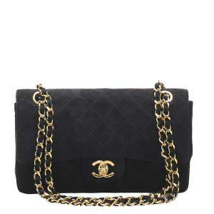 Chanel Black Suede Classic Small Double Flap Bag