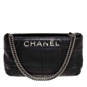 Chanel Black Square Quilted Leather Lax Pochette Bag