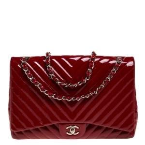 Chanel Red Chevron Patent Leather Maxi Classic Single Flap Bag