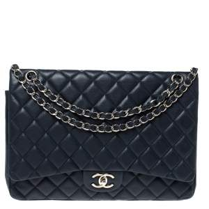 Chanel Midnight Blue Quilted Caviar Leather Maxi Classic Double Flap Bag