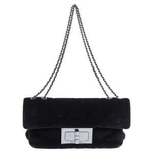 Chanel Black Velvet Reissue Flap Shoulder Bag